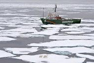 Image provided by Greenpeace shows its My Arctic Sunrise ship on an Arctic Ocean expedition to document the sea ice level. Arctic sea ice has shrunk to its smallest surface area since record-keeping began, taking the world into &quot;uncharted territory&quot; as climate change intensifies, US scientists warned