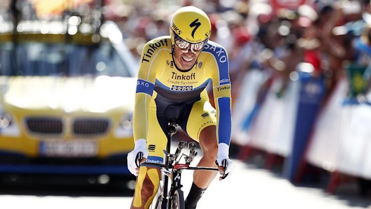 Alberto Contador of Spain, at the time trial arrival the 36,7 kilometers (22-mile) time trial, Real Monasterio Santa Maria de Varuela-Borja, the 10th stage of the Spanish Vuelta cycling race, in Borja, Spain, Tuesday, Sept. 2, 2014. (AP Photo/Ivan Aguinaga)