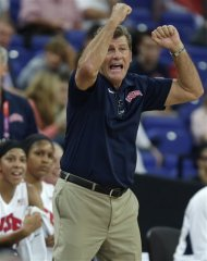 United States' head coach Geno Auriemma gestures towards his player during the women's gold medal basketball game against France at the 2012 Summer Olympics, Saturday, Aug. 11, 2012, in London. (AP Photo/Charles Krupa)