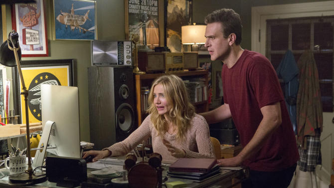 """This image released by Sony Pictures shows Cameron Diaz, left, and Jason Segel in a scene from """"Sex Tape."""" (AP Photo/Sony Pictures, Claire Folger)"""