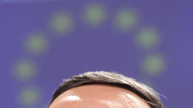 European Commission President Jose Manuel Barroso smiles as he addresses the media, at the European Commission headquarters in Brussels, Wednesday, Feb. 13, 2013. The EU and the U.S. agreed on Wednesday to launch talks for a trans-Atlantic free trade deal. (AP Photo/Yves Logghe)
