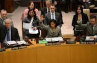 <p>US ambassador to the UN Susan Rice (C) votes with UN Security Council members to adopt sanctions against North Korea at the United Nations headquarters in New York, March 7, 2013. The UN Security Council on Thursday imposed new sanctions against North Korea amid escalating tensions as the North threatened a pre-emptive nuclear strike against the United States.</p>
