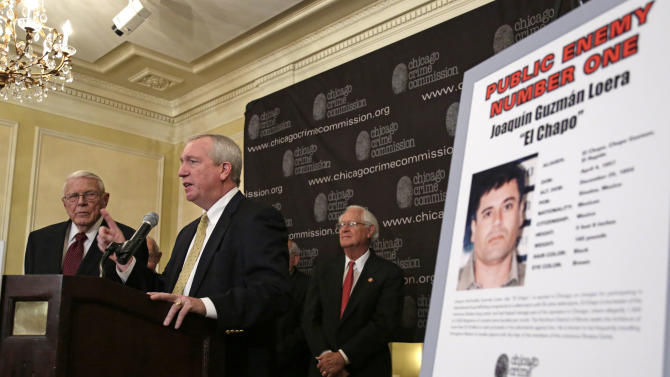 From left, Al Bilek, Executive Vice President of the Chicago Crime Commission,  Jack Riley, Special Agent In Charge for the DEA, Chicago Field office, and Peter Bensinger former Administrator of the United States Drug Enforcement Administration announce that Joaquin ``El Chapo'' Guzman, a drug kingpin in Mexico, is Chicago's  Public Enemy No. 1, during a news conference Thursday, Feb. 14, 2013, in Chicago.  Guzman was singled out for his role as leader of the powerful Sinaloa cartel, which supplies the bulk of narcotics sold in the city. For the first time since prohibition, when the label was  created for Al Capone, that anyone else has been named Public Enemy No. 1. (AP Photo/M. Spencer Green)