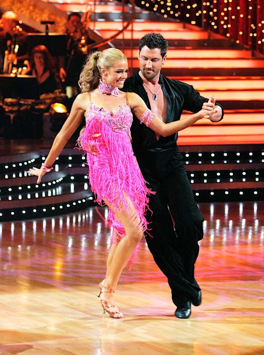 Denise Richards and Maksim Chmerkovskiy perform the Cha-cha to &quot;Nothin' but a Good Time&quot; by Poison on &quot;Dancing with the Stars.&quot; 