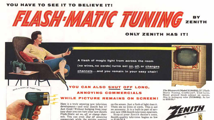 """This undated photo of a 1955 advertisement, provided by LG Electronics, shows an ad for a Zenith """"Flash-Matic,"""" the first wireless TV remote control. A spokesman for Zenith Electronics says engineer Eugene Polley, the inventor of the device, died Sunday, May 20, 2012, of natural causes in Downers Grove, Ill. He was 96. Polley and fellow Zenith engineer Robert Adler were honored in 1997 with an Emmy for their work in pioneering TV remotes. (AP Photo/LG Electronics)"""