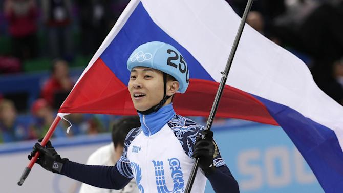 Ahn wins 1st Olympic short track gold for Russia