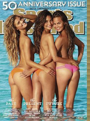 This cover image taken by James Macari for Sports Illustrated shows models, from left, Nina Agdal, Lily Aldridge, and Chrissy Teigen on the cover of the 2014 Swimsuit Issue. The 50th Anniversary issue will go on sale on February 18. (AP Photo/Sports Illustrated, James Macari) USAGE GRANTED FOR 12 WEEKS ONLY, ENDING MAY 31, 2014; MANDATORY CREDIT: JAMES MACARI FOR SPORTS ILLUSTRATED; FOR USE IN USA ONLY. NO INTERNATIONAL USE PERMITTED. FOR USE ONLY FOR THE PROMOTION OF THE 2014 SPORTS ILLUSTRATED ISSUE.