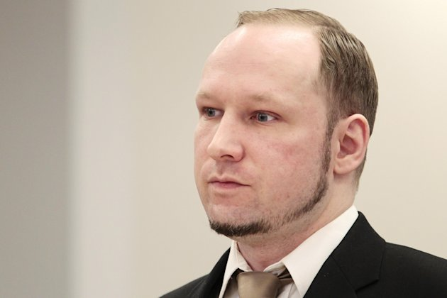 Accused Norwegian Anders Behring Breivik sits in the courtroom, in Oslo, Norway, Tuesday April 17, 2012. The anti-Muslim fanatic who admitted to killing 77 people in a bomb-and-shooting massacre is set to take the stand in his terror trial. Anders Behring Breivik will have five days to explain why he set off a bomb in Oslo's government district, killing eight, and then gunned down 69 at a Labor Party youth camp outside the Norwegian capital. (AP Photo/Hakon Mosvold Larsen/Scanpix Norway, Pool)
