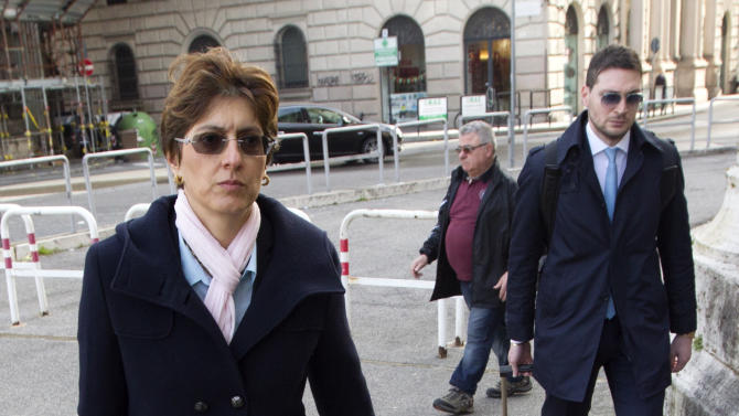Raffaele Sollecito's lawyer Giulia Bongiorno arrives at the Italy's highest court building, in Rome, Friday, March 27, 2015. American Amanda Knox and her Italian ex-boyfriend Raffaele Sollecito expect to learn their fate Friday when Italy's highest court hears their appeal of their guilty verdicts in the brutal 2007 murder of Knox's British roommate Meredith Kercher. Several outcomes are possible, including confirmation of the verdicts, a new appeals round, or even a ruling that amounts to an acquittal in the sensational case that has captivated audiences on both sides of the Atlantic. (AP Photo/Riccardo De Luca)