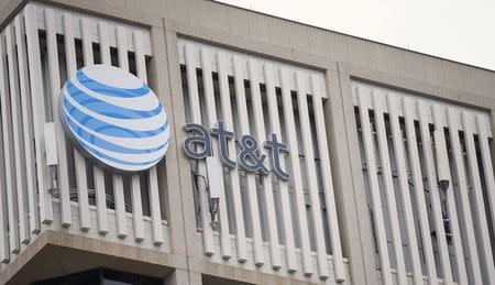 An AT&T Logo is pictured on the side of a building in Pasadena
