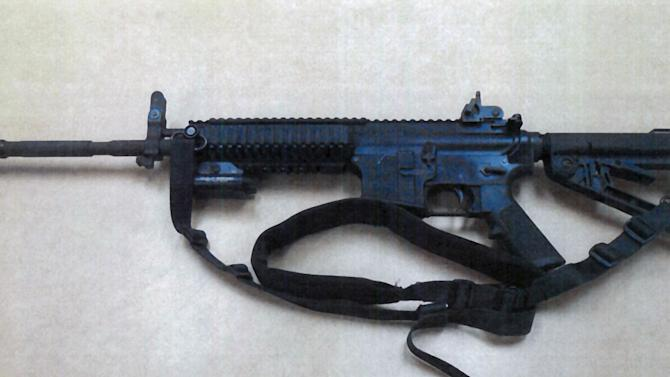 This image provided by the Fontana Unified School District Police shows a Colt LE6940 semiautomatic rifle, one of 14 purchased by the Fontana Unified School District to help provide security for the school, in California. The weapons, which cost $1,000 each, are high-powered weapons that are accurate at longer range and can pierce body armor.   (AP Photo/FUSD Police)