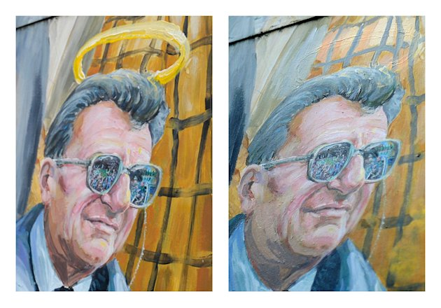 This combination of two photos shows a detail of a mural by Michael Pilato in State College, Pa. depicting a halo over the late Penn State football coach Joe Paterno on Monday, Jan. 23, 2012, left, an