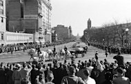The flag-draped coffin of the late US President John F. Kennedy is pictured in downtown Washington, D.C., on November 24, 1963 during the funeral procession