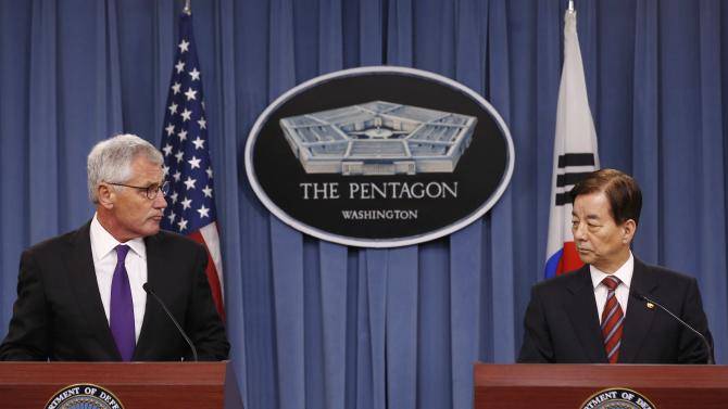 U.S. Secretary of Defense Chuck Hagel and South Korean National Defense Minister Han Min Koo attend a news conference at the Pentagon in Washington