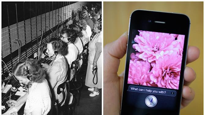 This combination of Associated Press file photos shows, left, the General Services Administration telephone switchboard and its operators in 1951, and right, Siri, Apple's virtual assistant, on the Apple iPhone 4S in 2011, in San Francisco. The number of  switchboard and telephone operators in the U.S. fell from 182,000 to 73,000 in 10 years through 2010 because of new technology. (AP Photo)