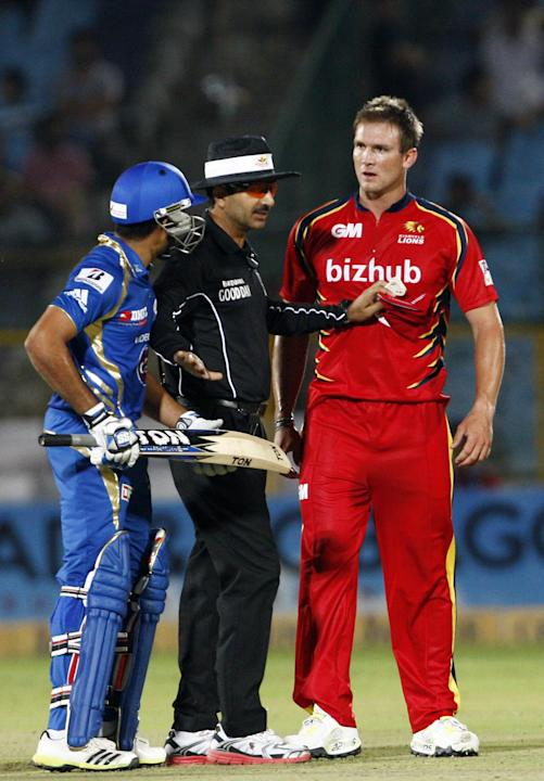 Players during an altercation during the match between Lions and Mumbai Indians at Sawai Mansingh Stadium, Jaipur on Sept. 27, 2013.(Photo: IANS)