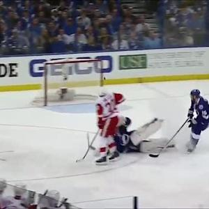 Bishop nearly caught by Miller playing puck