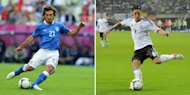 Italy's midfielder Andrea Pirlo (L) and Germany's midfielder Mesut Oezil. Italian playmaker Andrea Pirlo believes Euro 2012 semi-final opponents Germany are running scared ahead of their clash with Italy in Warsaw on Thursday