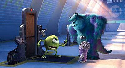 Mike Wazowski ( Billy Crystal ) and James P. Sullivan ( John Goodman ) with Boo ( Mary Gibbs ) in Disney's Monsters, Inc.