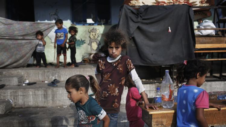 Palestinian children take refuge at a United Nations school in the northern Gaza Strip