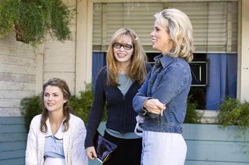 Keri Russell , director Adrienne Shelly and Cheryl Hines on the set of Fox Searchlight's Waitress