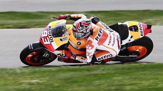 Honda MotoGP rider Marc Marquez of Spain rides through a turn during practice for the Indianapolis Grand Prix in Indianapolis (Reuters)