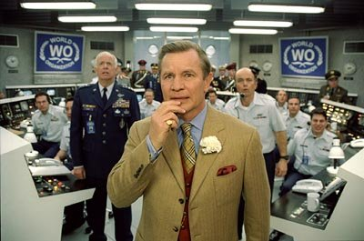 Michael York as Basil Exposition being flanked by Clint Howard in New Line's Austin Powers in Goldmember