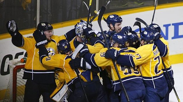 NHL Nashville Predators players celebrate (Reuters)