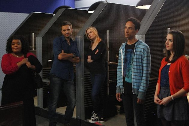 This image released by NBC shows cast members from &quot;Community,&quot; from left, Yvette Nicole Brown as Shirley, Joel McHale as Jeff, Gillian Jacobs as Britta, Danny Pudi as Abed, and Alison Brie as Annie. Community returned as a mid-season replacement in February _ for the first time without any involvement from creator Dan Harmon. (AP Photo/NBC, Trae Patton)