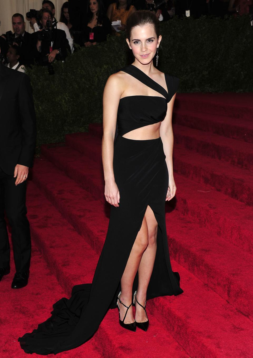 "Emma Watson attends The Metropolitan Museum of Art's Costume Institute benefit celebrating ""PUNK: Chaos to Couture"" on Monday, May 6, 2013, in New York. (Photo by Charles Sykes/Invision/AP)"