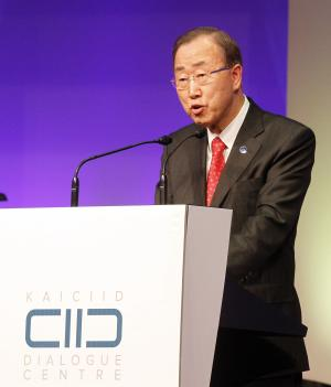 United Nations Secretary-General Ban Ki-moon delivers a speech during the inauguration ceremony of the King Abdullah Bin Abdulaziz International Centre for Interreligious and Intercultural Dialogue, KAICIID, in Vienna, Austria, Monday, Nov. 26, 2012. (AP Photo/Ronald Zak)