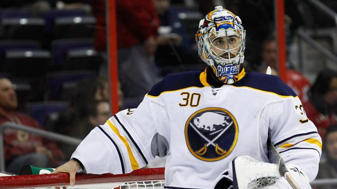 Ryan Miller #30 Of The Buffalo Sabres Looks Getty Images