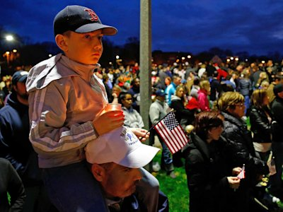 boy, boston, american flag, boston explosion bomb vigil
