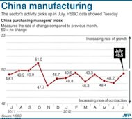A graphic charting China&#39;s manufacturing activity, according to HSBC&#39;s preliminary data Tuesday