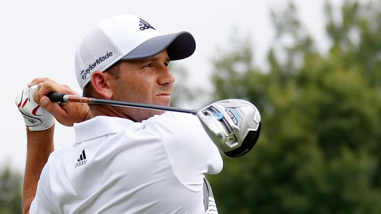 Sergio Garcia hits off the sixth tee during the second round of the World Golf Championships-Bridgestone Invitational at Firestone Country Club South Course on August 1, 2014 in Akron, Ohio