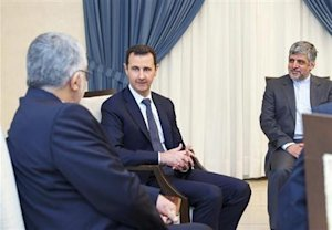Syria's President Assad meets Boroujerdi, head of the Iranian parliamentary committee for national security and foreign policy, in Damascus