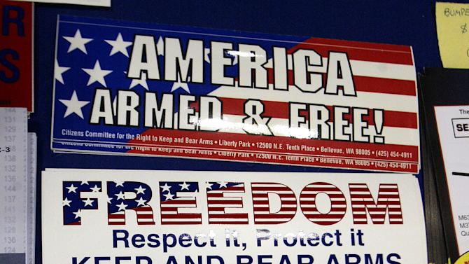 Various stickers stand on display at the 132nd Annual National Rifle Association Meeting in in Orlan..