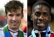 Scotland's cyclist David Millar (L) and Britain's sprinter Dwain Chambers. Chambers and Millar were cleared for the London Olympics on Thursday after the British Olympic Association officially rescinded its lifetime ban for athletes found guilty of doping offences