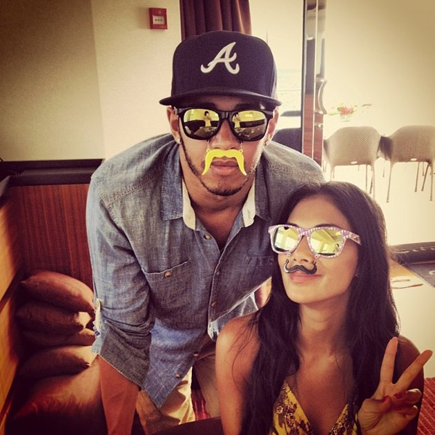 Celebrity Twitpics: This week, Lewis Hamilton and Nicole Scherzinger put to bed any rumours of a split, by tweeting this funny photo. Lewis posted the picture on Twitter, showing him and Nicole wearin