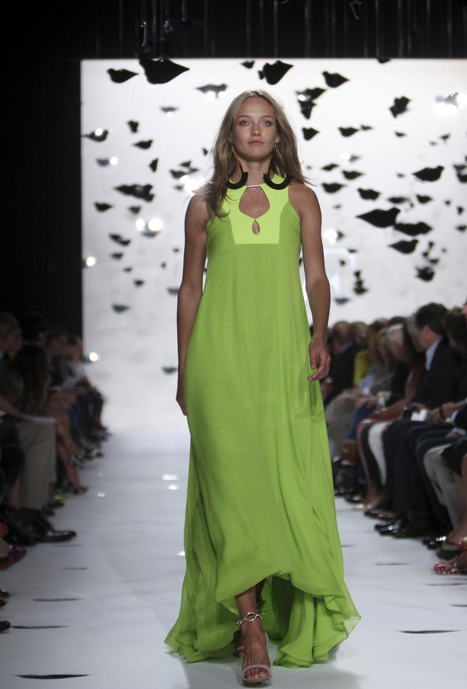 The Diane Von Furstenberg Spring 2013 collection is modeled during Fashion Week in New York, Sunday, Sept. 9, 2012.  (AP Photo/Seth Wenig)