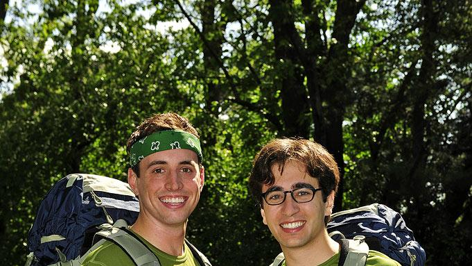 "College students Connor Diemand-Yauman (left) and Jonathan Schwartz compete in ""The Amazing Race 17."""
