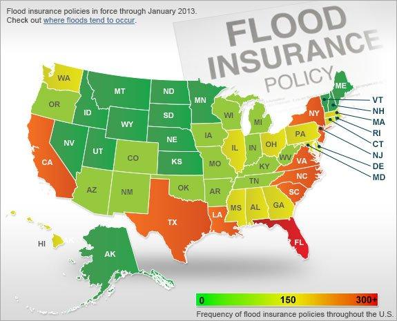 Flood insurance policies in force through January 2013