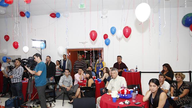 Atmosphere at the AIDS Healthcare Foundation Election Headquarters victory party on Tuesday, November 6, 2012 in Los Angeles, California. (Joe Kohen /AP Images for AIDS Healthcare Foundation)  Early results show strong support for Measure B.