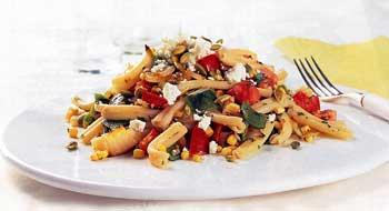 Warm Pasta Salad with Roasted Corn and Poblanos