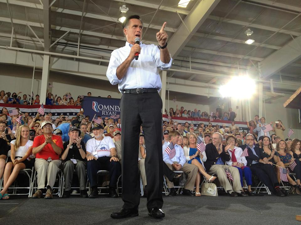 Republican presidential candidate, former Massachusetts Gov. Mitt Romney,  campaigns at the Military Aviation Museum in Virginia Beach, Va., Saturday, Sept. 8, 2012. (AP Photo/Charles Dharapak)
