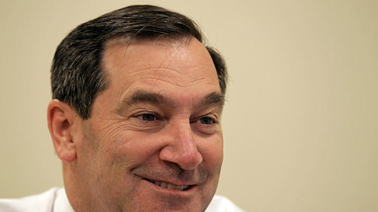 FILE - In this Sept. 26, 2012, file photo, Indiana Democratic Senate candidate Joe Donnelly answers questions during an interview with the Associated Press in Indianapolis. Campaign cash from outside political groups is flooding into conservative states with close Senate races like Indiana and Montana, where residents are less accustomed to a relentless barrage of attack ads on TV. (AP Photo/Michael Conroy, File)