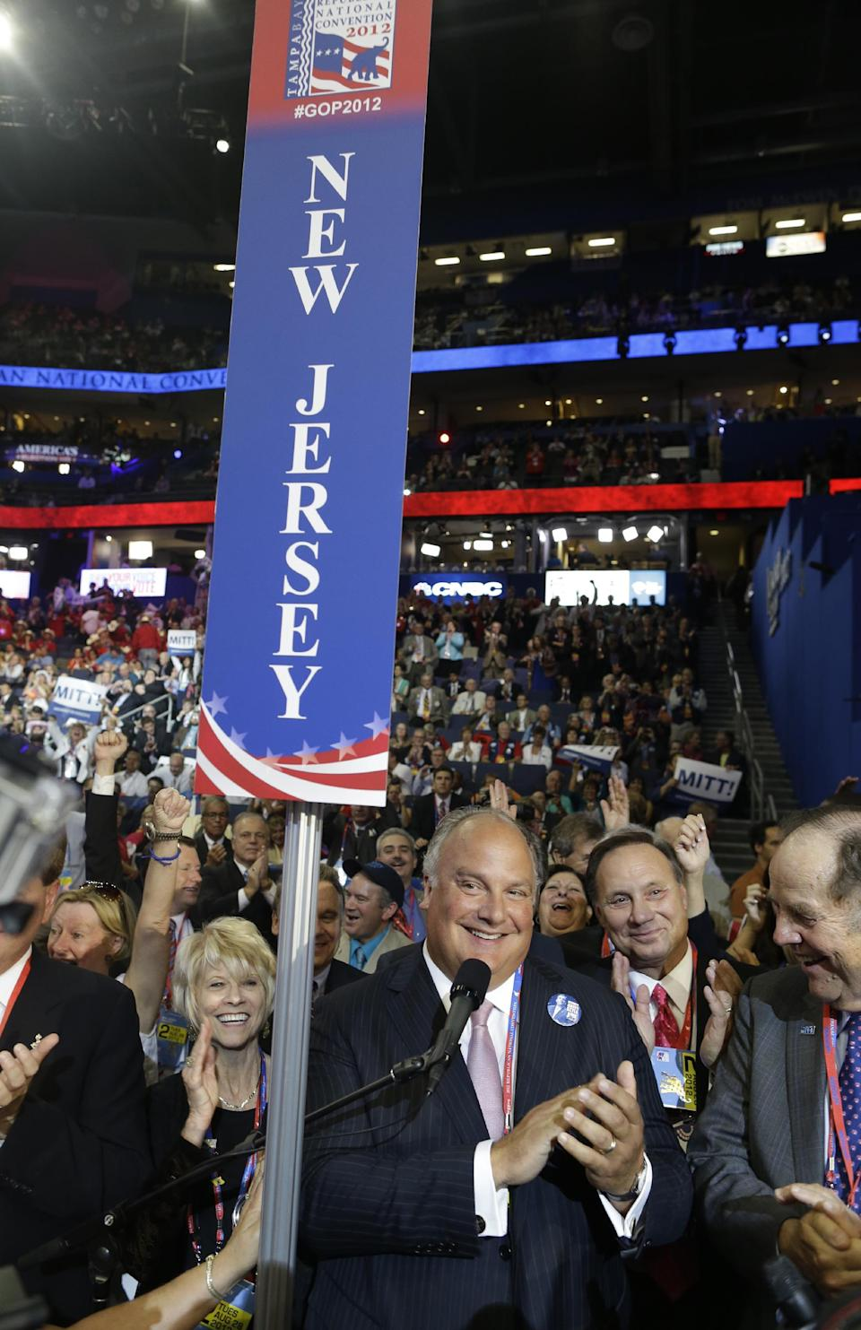 Todd J. Christie, brother of New Jersey Gov. Chris Christie speaks at the Republican National Convention as Mitt Romney is nominated by the state delegates for the Office of the President of the United States in Tampa, Fla., on Tuesday, Aug. 28, 2012. (AP Photo/Charles Dharapak)
