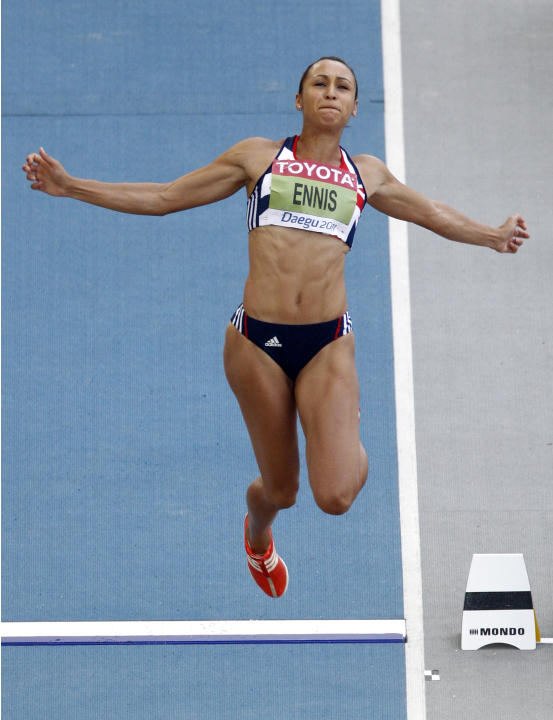 Britain's Jessica Ennis makes an attempt in the Heptathlon Long Jump at the World Athletics Championships in Daegu, South Korea, Tuesday, Aug. 30, 2011. (AP Photo/Kin Cheung)