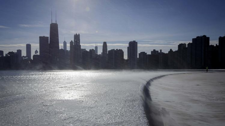 Ice covers the shore of Lake Michigan in Chicago where temperatures have dropped well below freezing