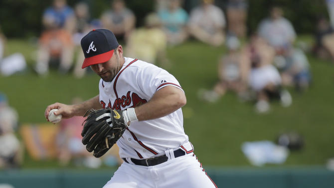 Detroit Tigers' Prince Fielder (28) breaks up a double as Atlanta Braves second baseman Dan Uggla, top, leaps to avoid him during an exhibition baseball game, Friday, Feb. 22, 2013, in Kissimmee, Fla. Fielder was out at second and Jhonny Peralta was safe at first on the play. (AP Photo/David J. Phillip)